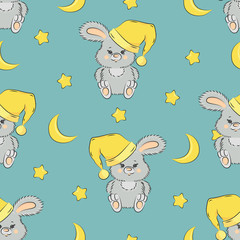 Seamless pattern with cute bunny, mon and stars. Good night vector illustration.