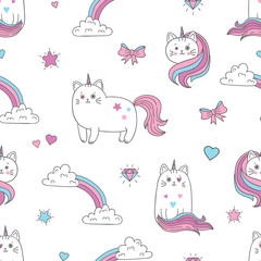Cute cats unicorns seamless pattern. Vector background for kids design.