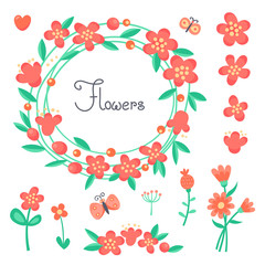 Simple cute flowers and butterflies for the design of cards, invitations.