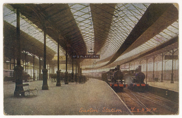 Euston Platform - Trains. Date: 1906