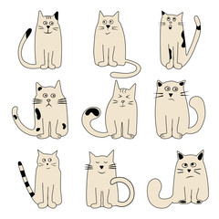 Colored set cartoon cats wits different emotions, vector illustration