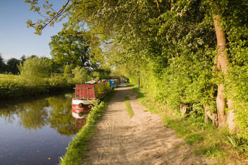 A late summer afternoon on the Shropshire Union canal in England with traditional narrowboats