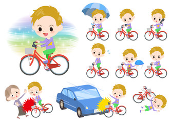 blond hair boy ride on city bicycle
