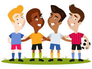 Group of four happy multinational cartoon footballer friends in colorful shirts and shorts standing on football field with one holding a ball isolated on white background