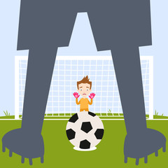 Illustration of anxious caucasian cartoon goalkeeper waiting for footballer (shown as silhouette) to take penalty kick