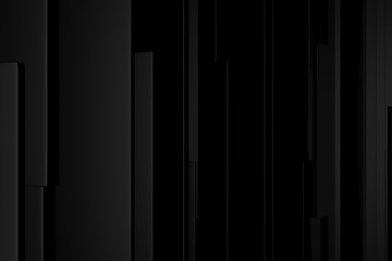Background geometric black color pattern abstract concept 3D rendering.