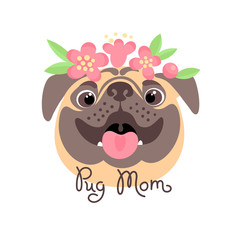 Pug Mom. Image of happy mother dog.