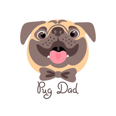 Pug Dad. Image of happy father dog.