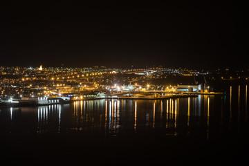 Panoramic view on Akureyri city at night in north iceland
