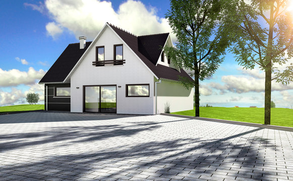 Belle maison moderne avec entrée en pavé
