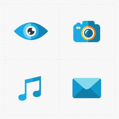 Modern flat social icons set on White Background