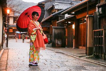 japanese young woman kimono Wall mural