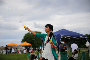 japanese young woman  soap bubble