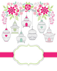 Vector Card Template with Bird Cages and Floral Branch. Birdcages and Floral  Bouquets Vector Illustration.