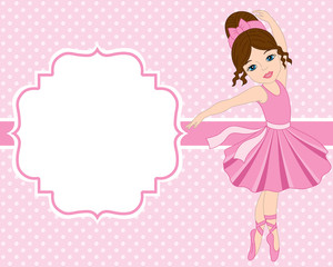 Vector Card Template with Ballerina on Polka Dot Background. Vector Ballerina.  Vector illustration.