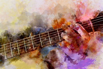 Playing guitar on Colorful watercolor background, Digital watercolor painting