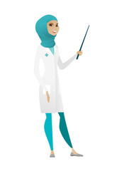 Muslim doctor holding pointer stick.