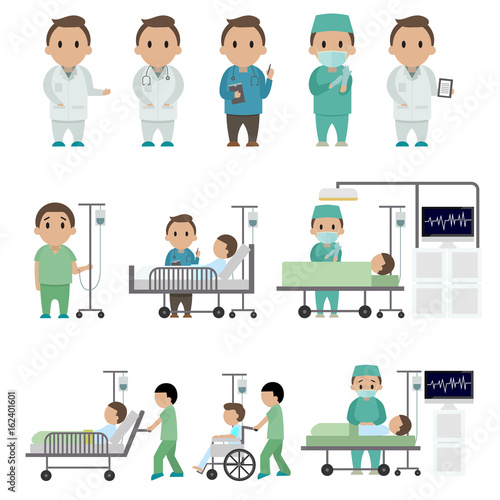 Medical Staff And Patients Different Situations Set In Hospital