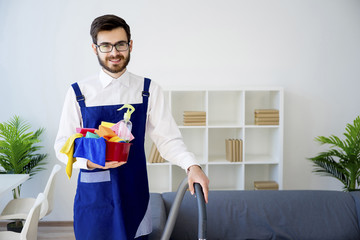 Cleaning service man