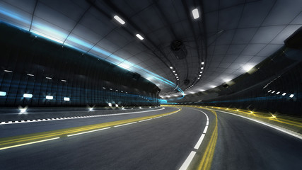 illuminated city highway tunnel with spotlights
