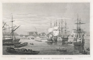Limehouse Dock - 1827. Date: 1827