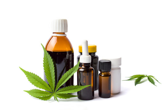 Marijuana and cannabis oil bottles isolated