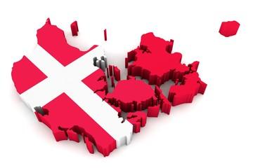 3D Karte von Dänemark mit Flagge auf weißem Hintergrund