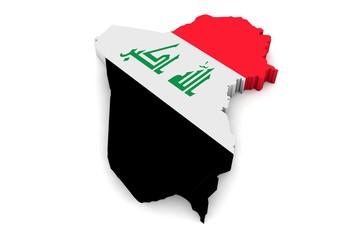 3D Karte von Irak mit Flagge auf weißem Hintergrund
