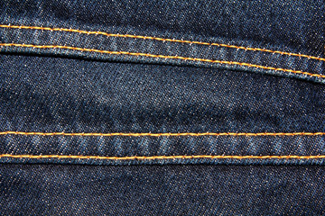 Blue denim jeans texture background with seams,close up,select focus with shallow depth of field