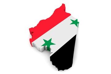3D Karte von Syrien mit Flagge vor weißem Hintergrund