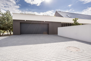 Modern garage with big driveway Wall mural