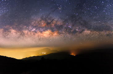 Beautiful Night Starry sky with Rising Milky Way over the mountain, Thailand