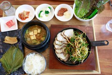 Boiled pork with salad, Bossam - Korean cuisine