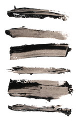 Photo set black grunge brush strokes oil paint isolated on white background