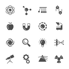 Physics science vector icons