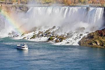 Beautiful picture with amazing Niagara waterfall and a ship