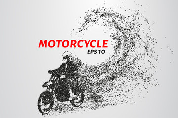 Motorcycle of the particles. Motorbike consists of circles and points.