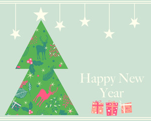 Happy New Year greeting card, vector illustration Vintage style pine tree with gift box