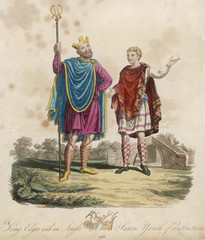 King Edgar I the Peaceable with page. Date: Reigned 959 - 975