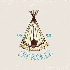 set of engraved vintage, hand drawn, old, labels or badges for indian or native american, tent.
