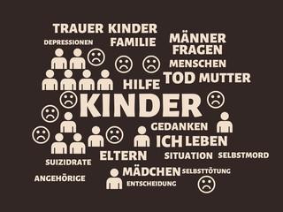 KINDER - Bilder mit Wörtern aus dem Bereich Suizid, Wortwolke, Würfel, Buchstabe, Bild, Illustration