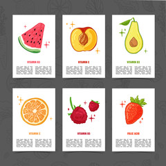 Banner design template with food decoration. Set card with the decor of healthy, juicy fruit. Menu template with space for text  and logo  herb, berry and healthy food. Vector.