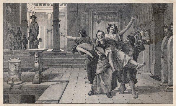 Ancient Romans celebrating the Saturnalia. Date: circa 200 BC