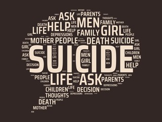 SUICIDE - image with words associated with the topic SUICIDE, word cloud, cube, letter, image, illustration