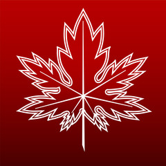 Red background maple leaf contour White