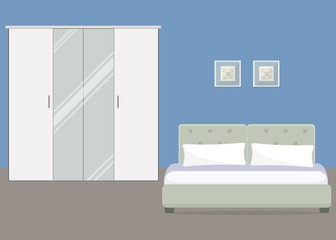 Bedroom in a blue color. There is a bed, a white wardrobe with a mirror in the image. There are also pictures on the wall. Vector flat illustration.