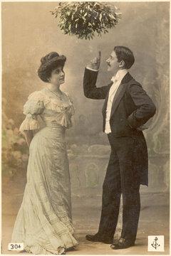 Mistletoe lecture  c. 1900. Date: circa 1900