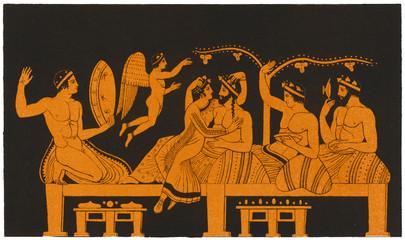 Greek Banquet  Courtesan. Date: ancient