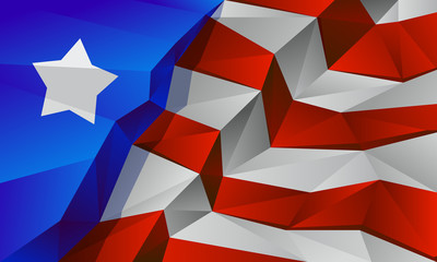 Polygonal flag of Unated States of America. Low poly Independence day background for card, poster and flyer.