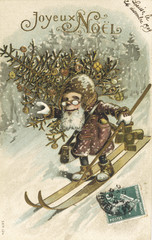 Father Christmas on skis  . Date: 1909
